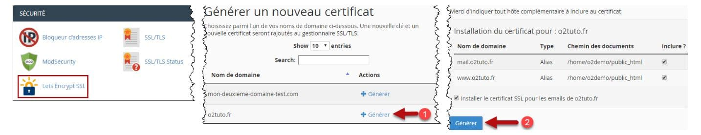 O2switch Let S Encrypt Certificat Ssl