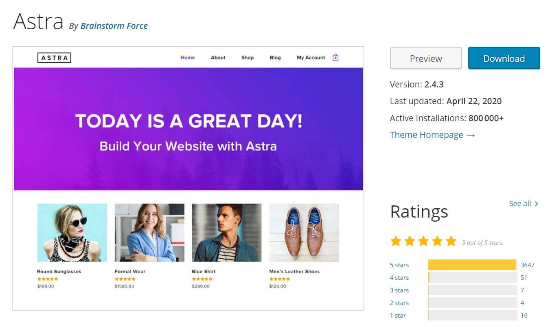 Astra Thème WordPress Gratuit Personnalisable