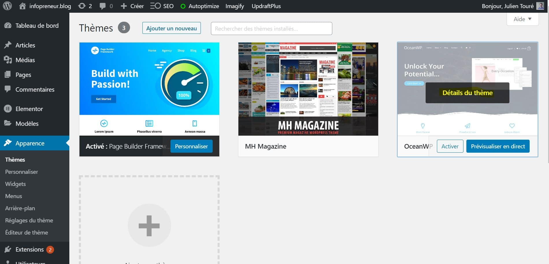 Désinstaller Un Theme WordPress Apparence
