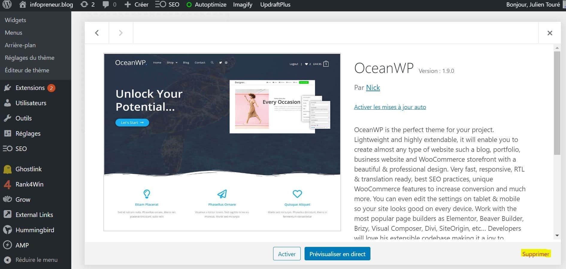 Désinstaller Un Theme WordPress Supprimer