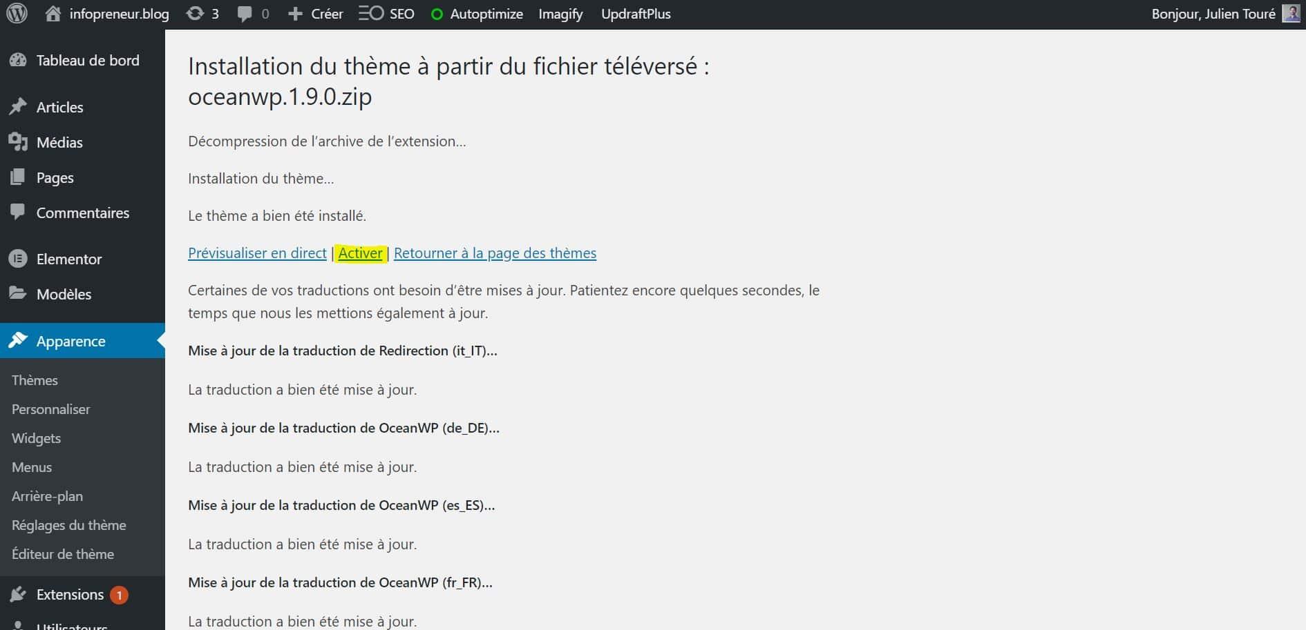 Installer Un Theme WordPress Activer