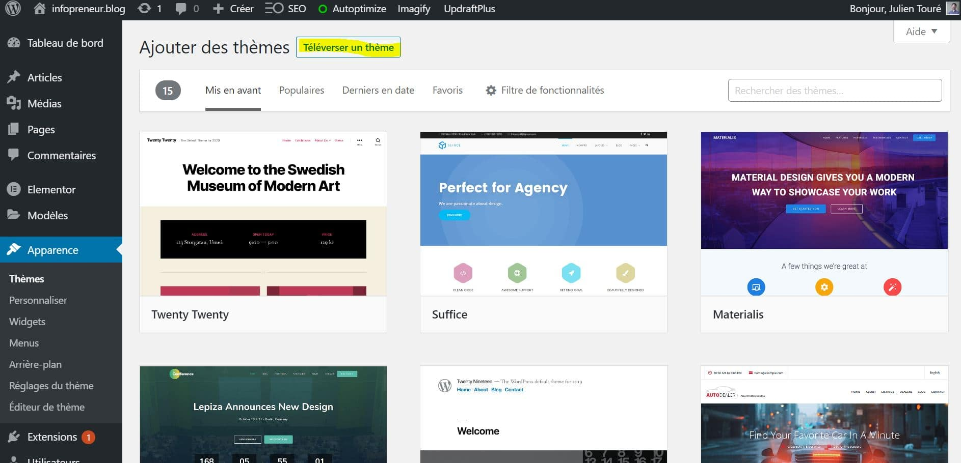 Installer Un Theme WordPress Téléverser Un Thème
