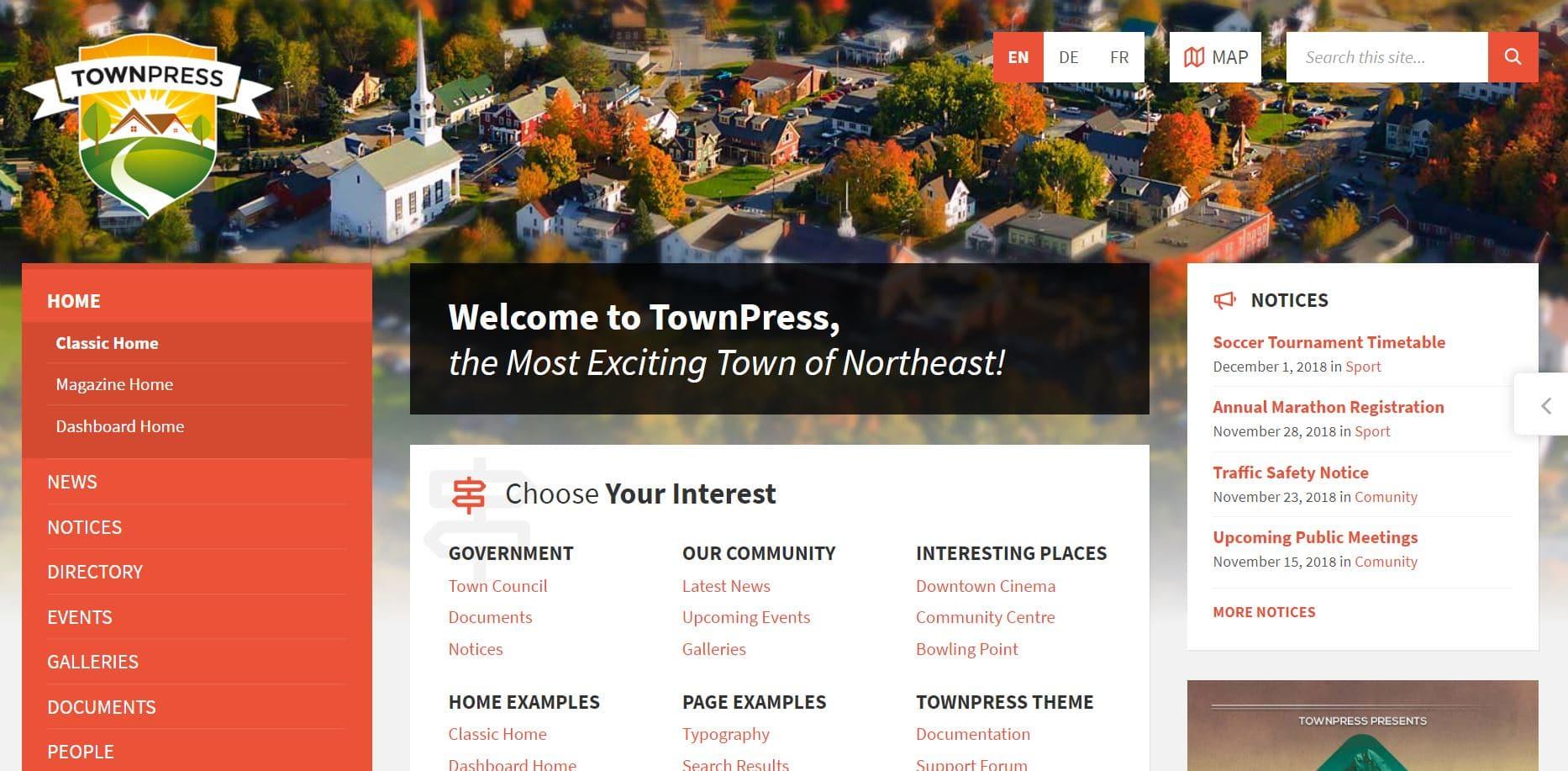 Theme WordPress Premium Townpress