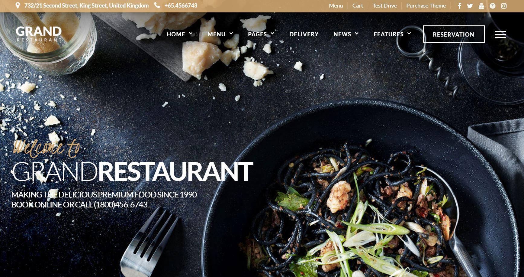 Theme WordPress Premium The Grand Restaurant