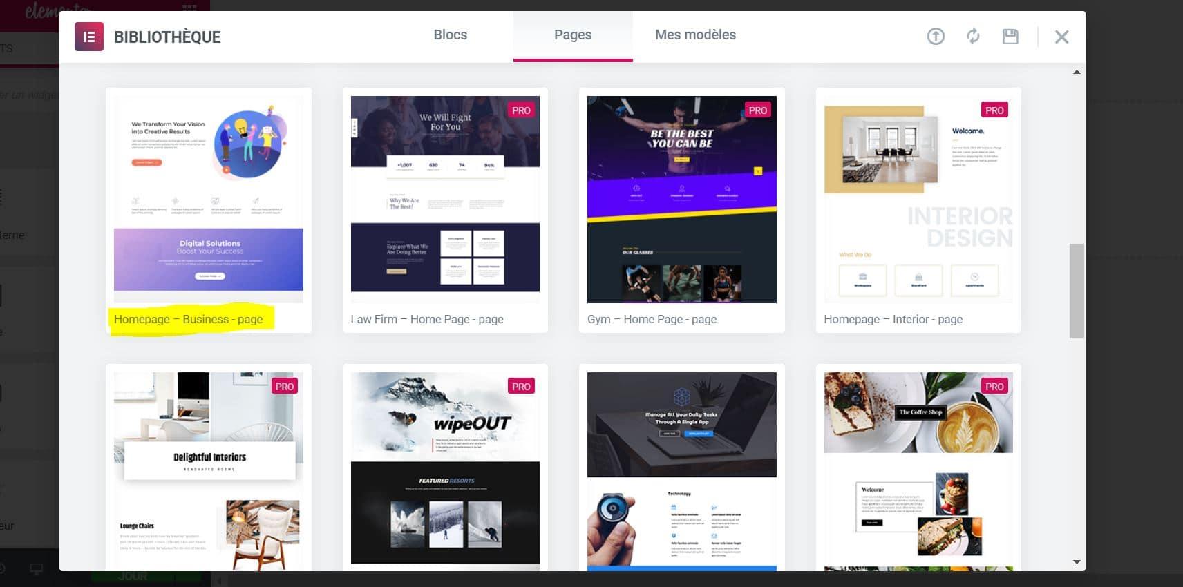 Créer Une Page Accueil WordPress Elementor Business