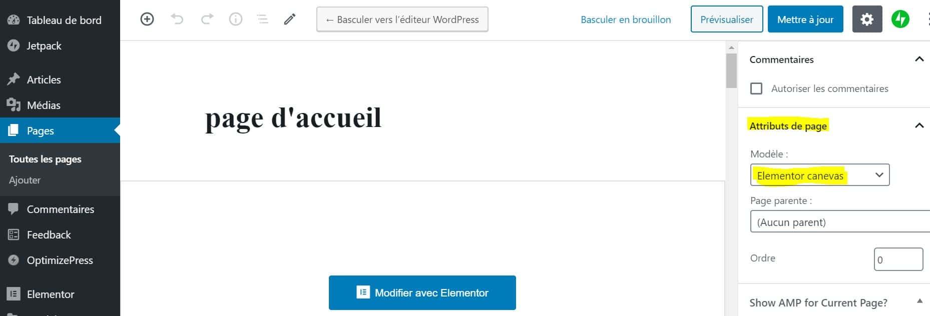 Créer Une Page Accueil WordPress Elementor Canvas
