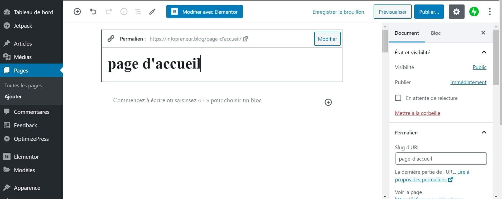 Créer Une Page Accueil WordPress