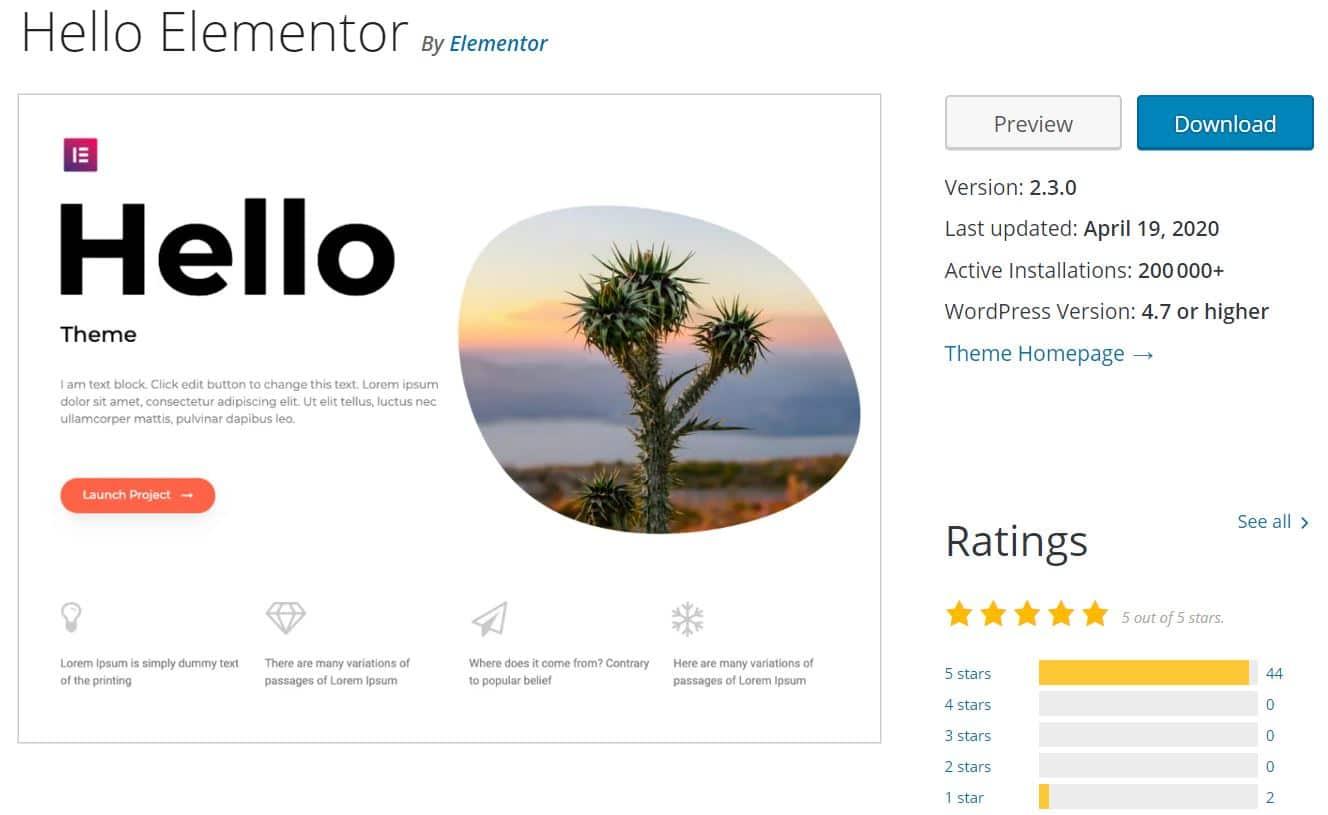 Hello Elementor Thème WordPress Gratuit