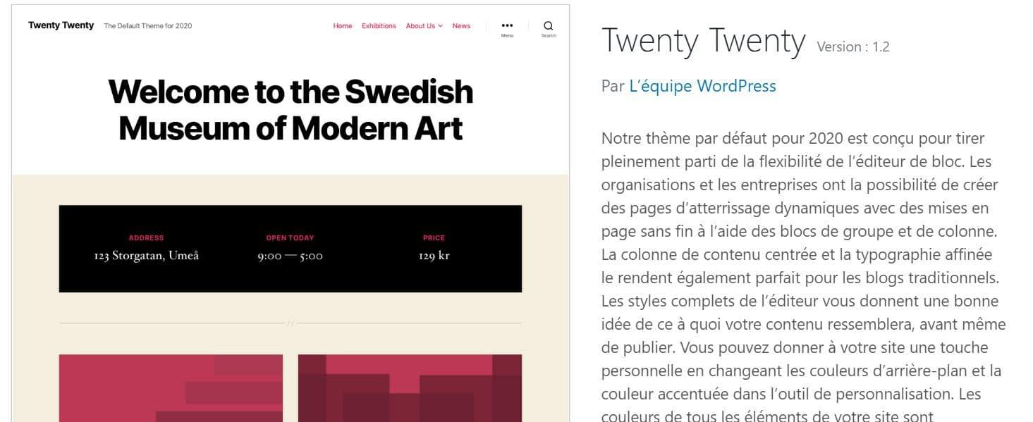 Thème WordPress 2020
